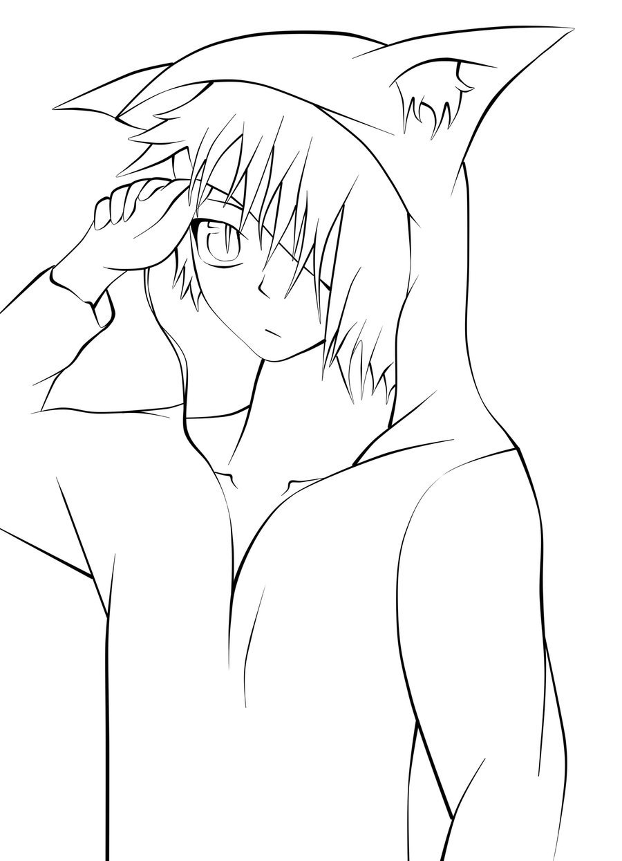 Male base anime hoodie coloring pages sketch coloring page