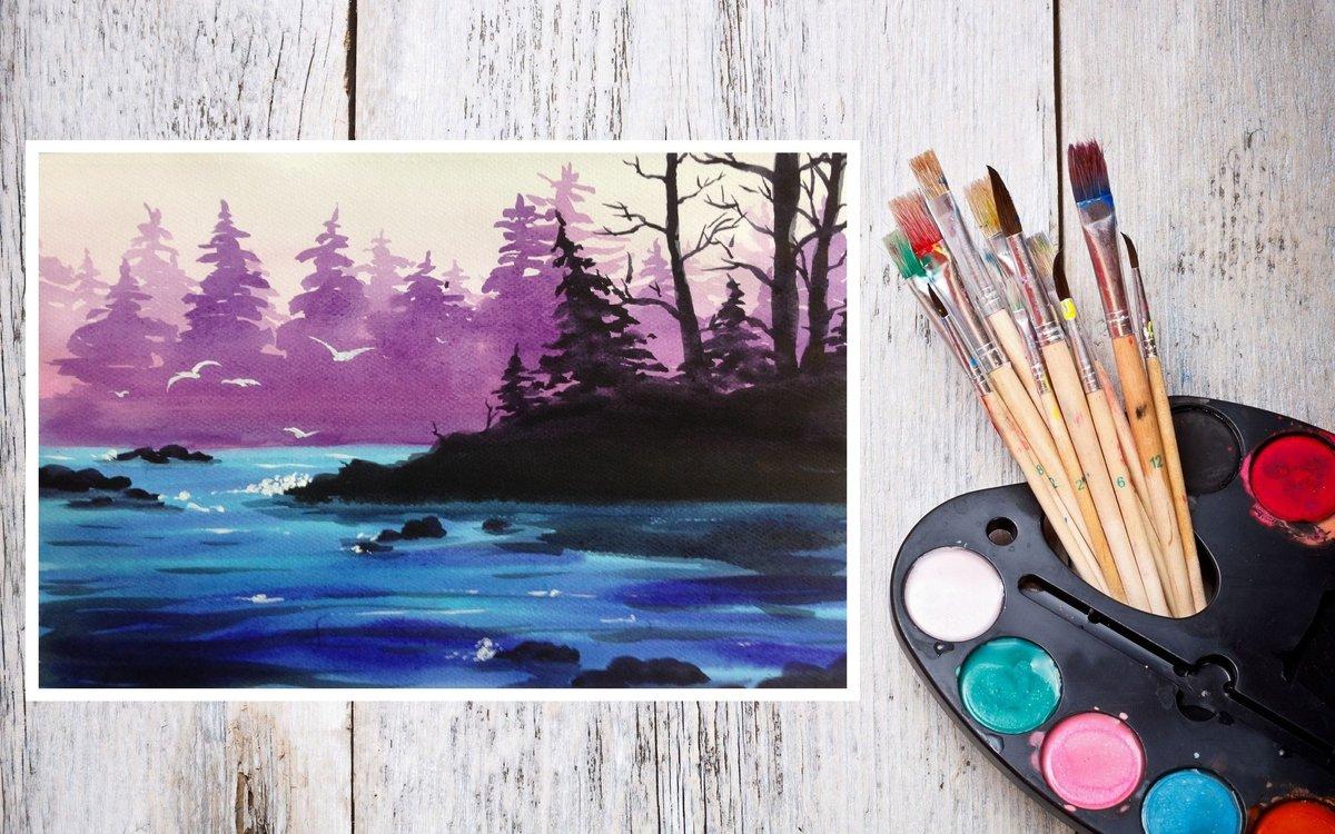 Картинки нарисовать красками, картинка юбилеем