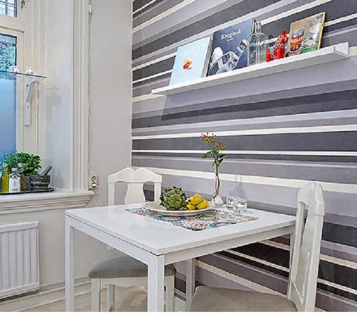 этом кухня с полосатыми обоями фото вот еще одно