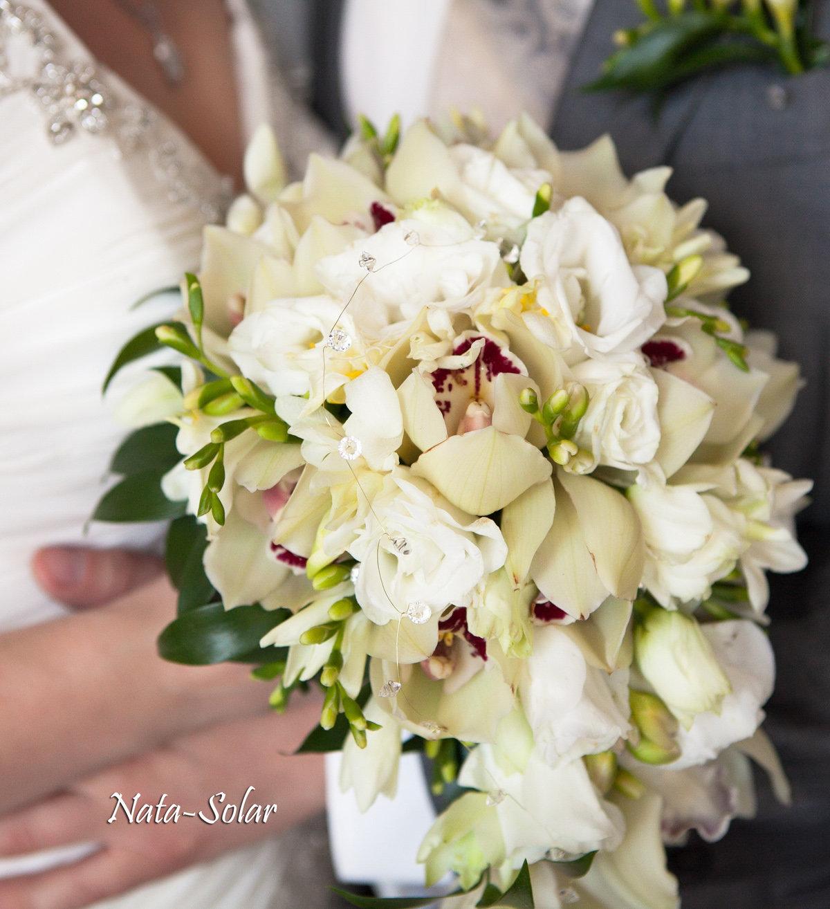 Цветов, заказать свадебный букет из орхидей и фрезий