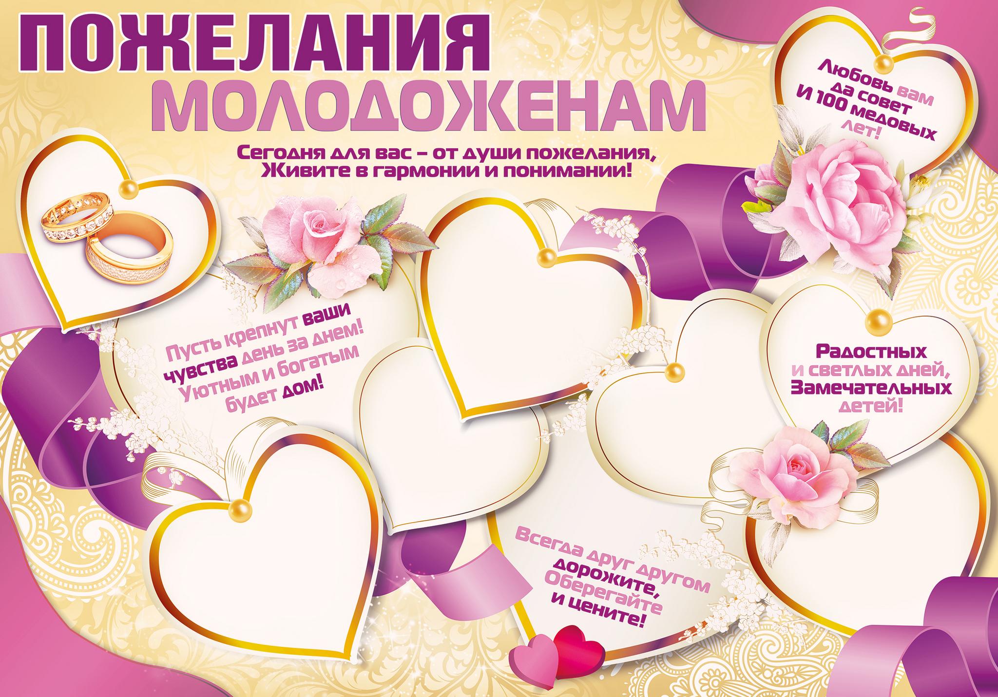 Поздравления молодожёнам в день свадьбы в стихах красивые фото 790