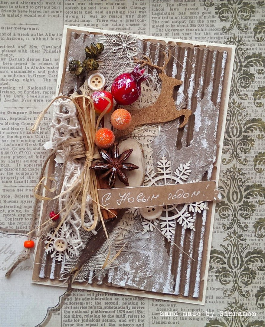 Скрапбукинг для начинающих пошагово открытка к новому году с сюрпризом