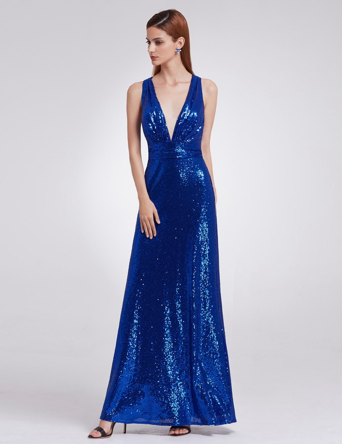 3deafb216d1 ... расшитое пайетками Длинное синее платье с открытой спиной
