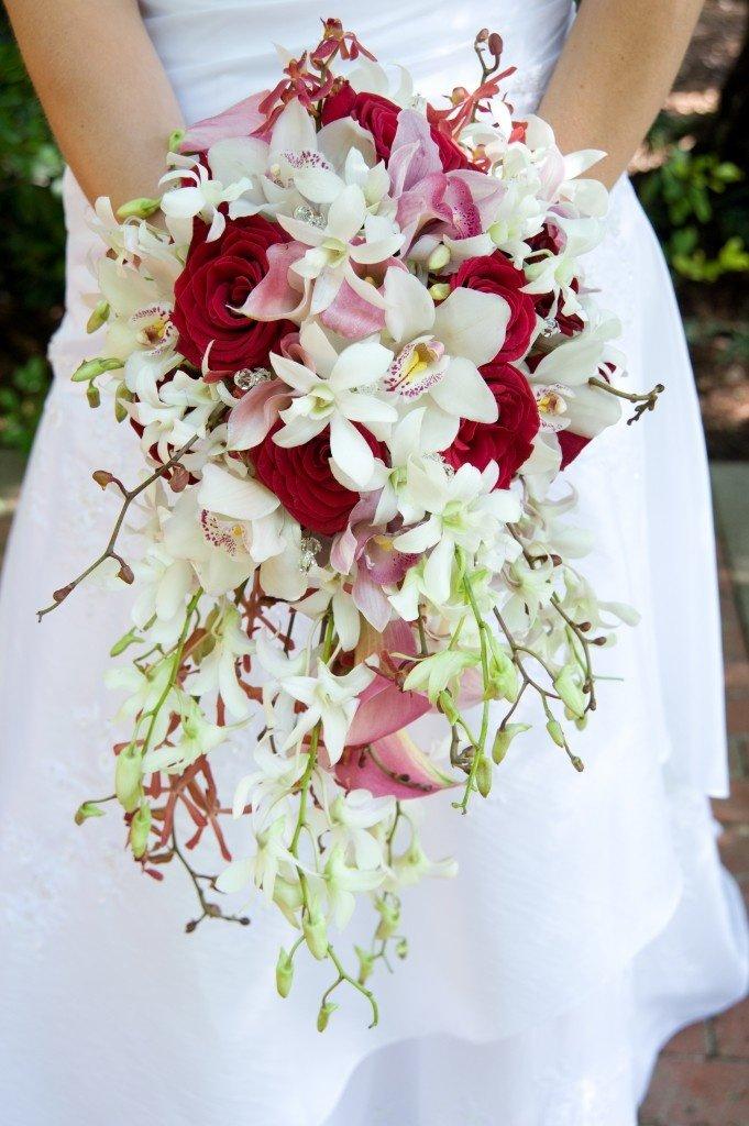 Красные орхидея свадебный букет, цветов цена