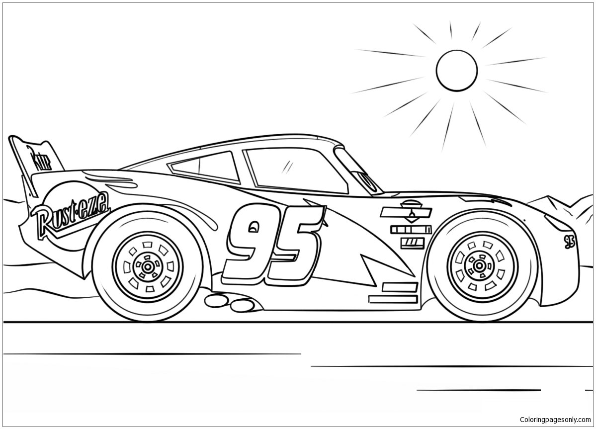 Free Lightning Mcqueen From Cars 4 Disney Coloring Page Online Printable