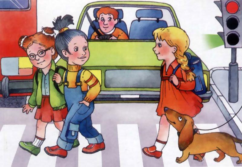 Картинка ПДД детям – на какой свет переходить дорогу