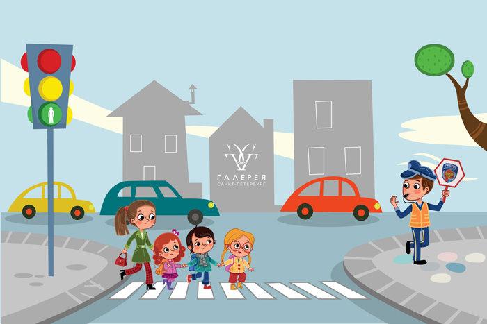 Векторные картинки дети и дорога