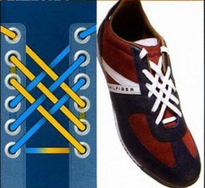 Красиво завязать шнурки на кедах картинки