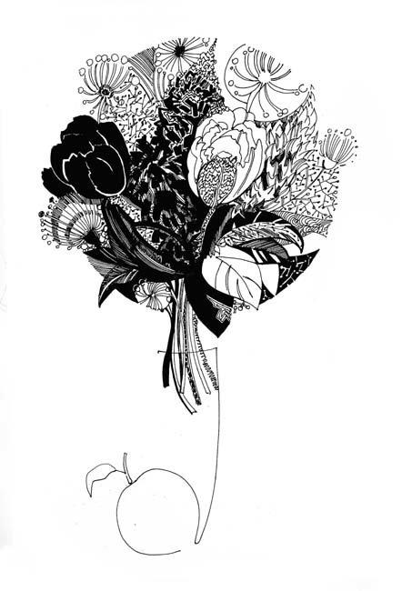 Открытки с графикой черно-белой, день рождения открытка