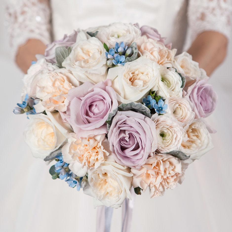 Спб, свадебные букеты из сиреневых роз