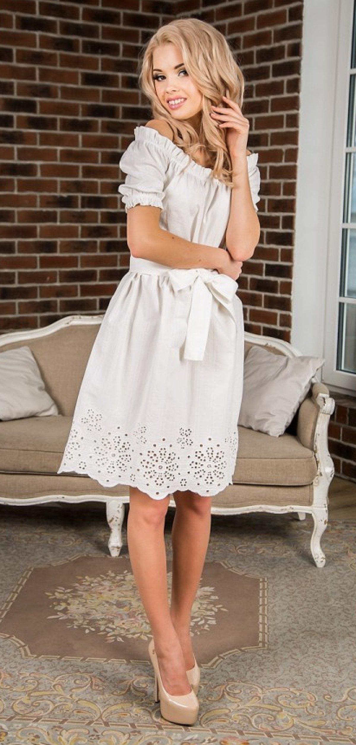 86ff7c5fdce ... поясом Летнее хлопоковое белое платье с открытыми плечами