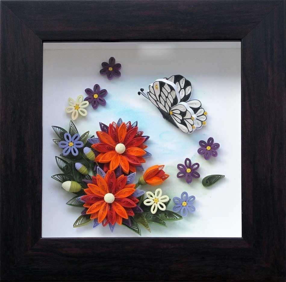 Открытки своими руками с цветами и бабочками