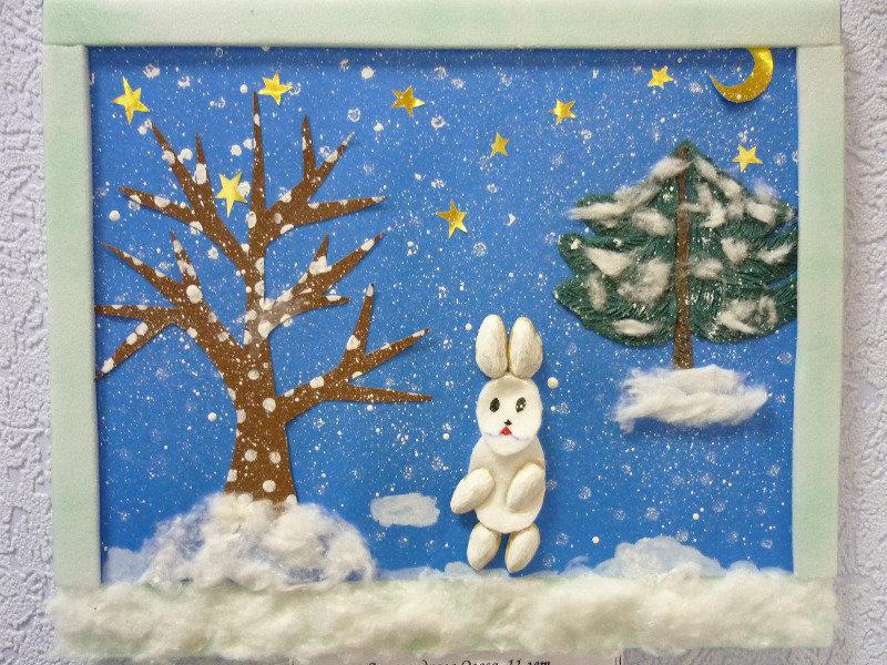 Зимняя картинка для детей своими руками