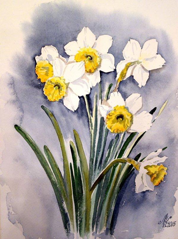 время рисунки весенних цветов тем