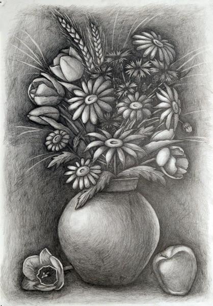 Натюрморт фото карандашом и рисунок. Kuco. 2768 x 2019. Акварельный натюрморт с цветами и яблоками стоковая картинка. Акварельный.
