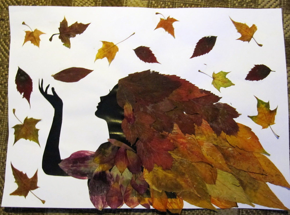 Прикольные картинки из листьев, без
