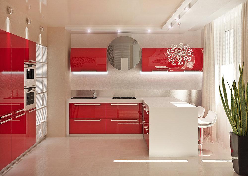 Картинки с интерьером красной кухни