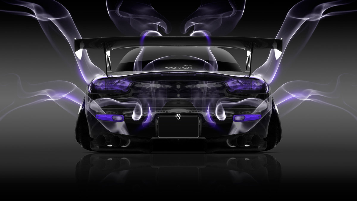 "Violet Smoke Art Wallpapers: ""Mazda-RX7-JDM-Back-Violet-Smoke-Car-2014-HD-Wallpapers"