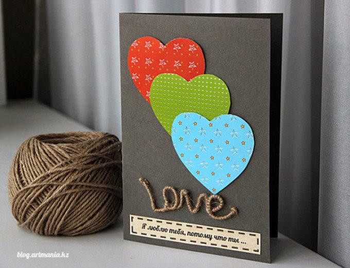как сделать открытку для мужа своими руками если