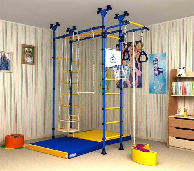 Спортивный комплекс может быть как отдельный самостоятельный элемент детской комнаты.