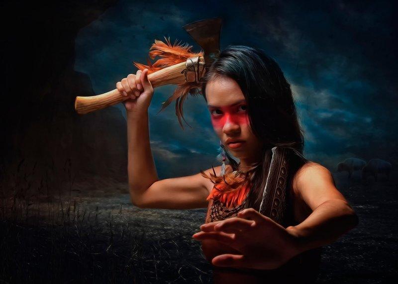 девушка - индеец