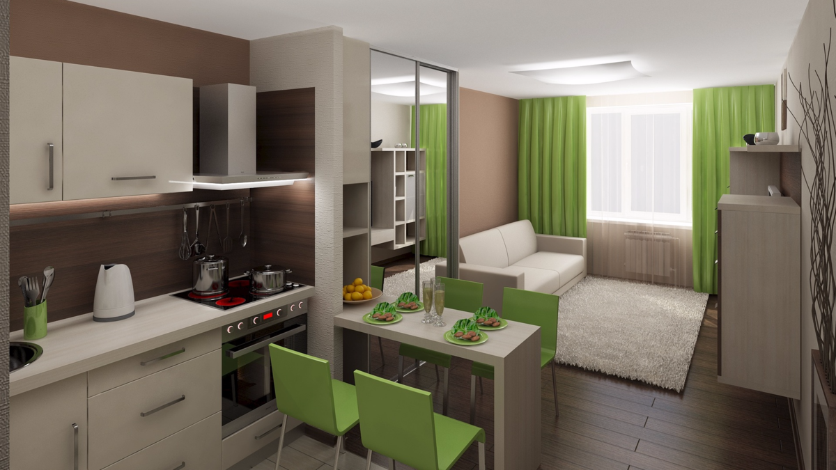 кухня-студия дизайн фото 20 кв.м