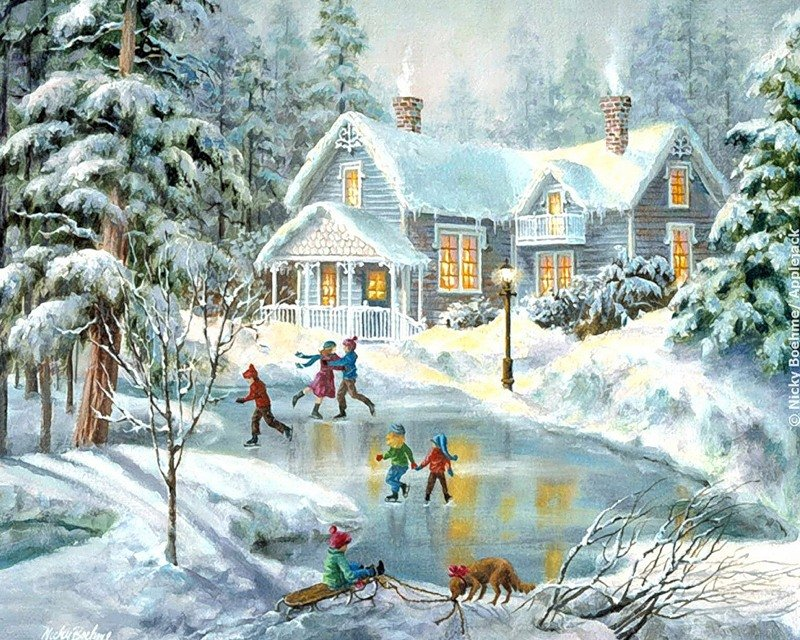Новогодние открытки зимний пейзаж, месяцами девочку