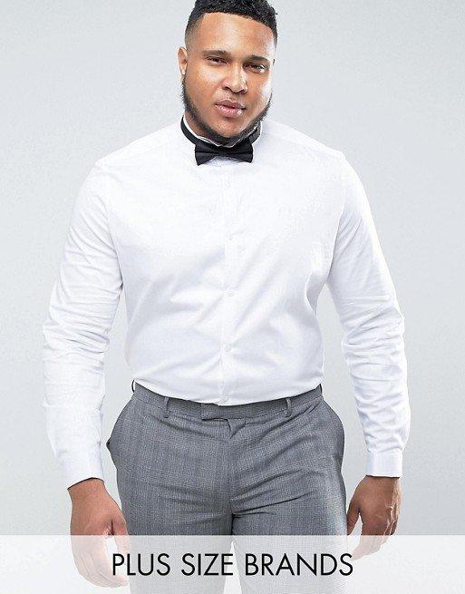 Белая рубашка воротник стойка мужская