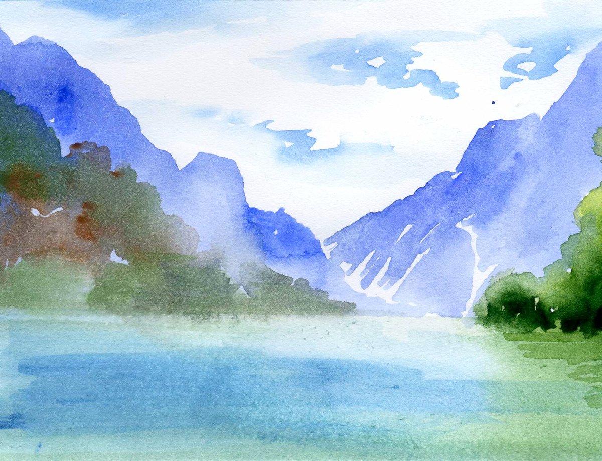 Рисунки акварелью пейзаж
