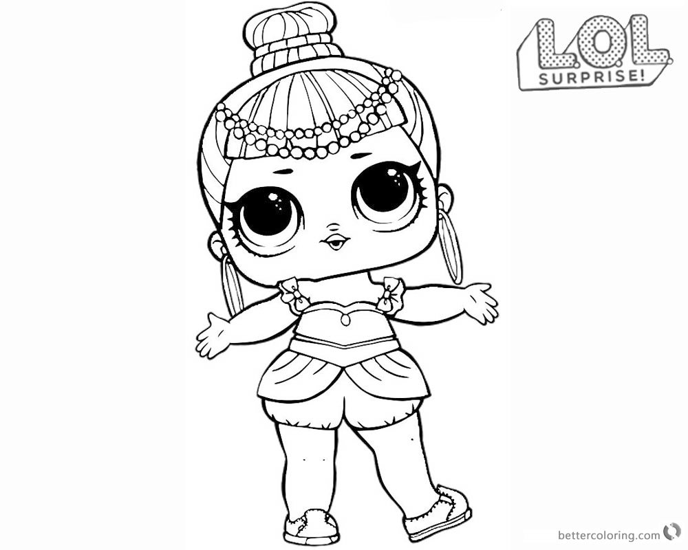Lol Surprise Doll Coloring Pages Series 2 Genie Free Print Card