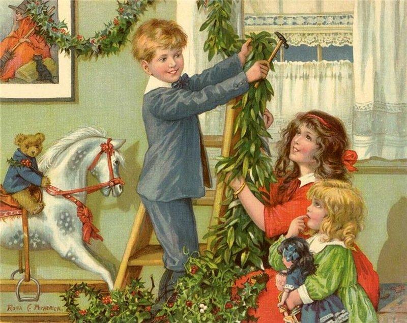 Ретро открытки с елкой