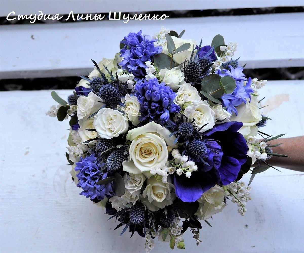 Букеты сенная, свадебные букеты из синих гиацинтов