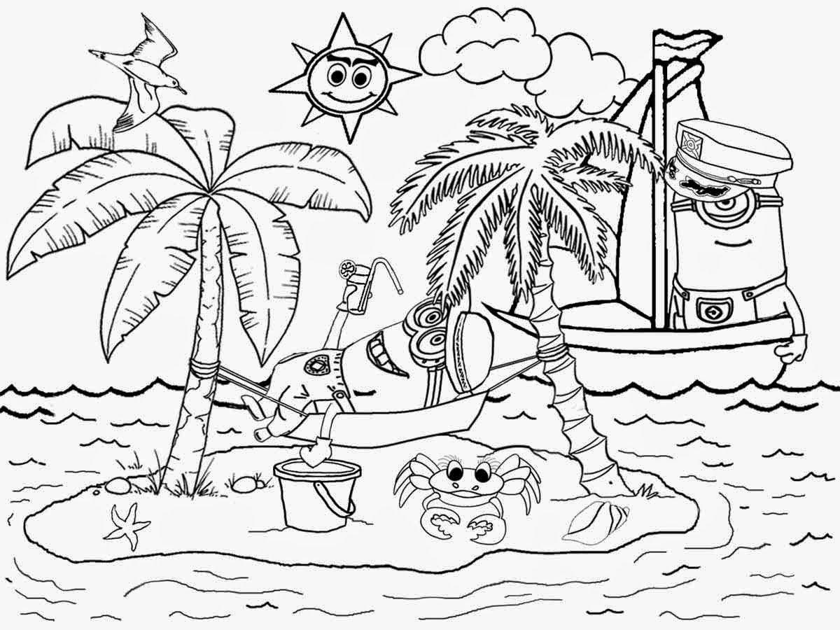 Beach Landscape Coloring Pages