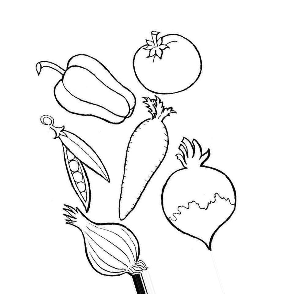 раскраска набор овощей обоих сортов