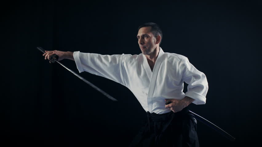 Portrait Shot Of The Aikido Master Wearing Traditional Samur