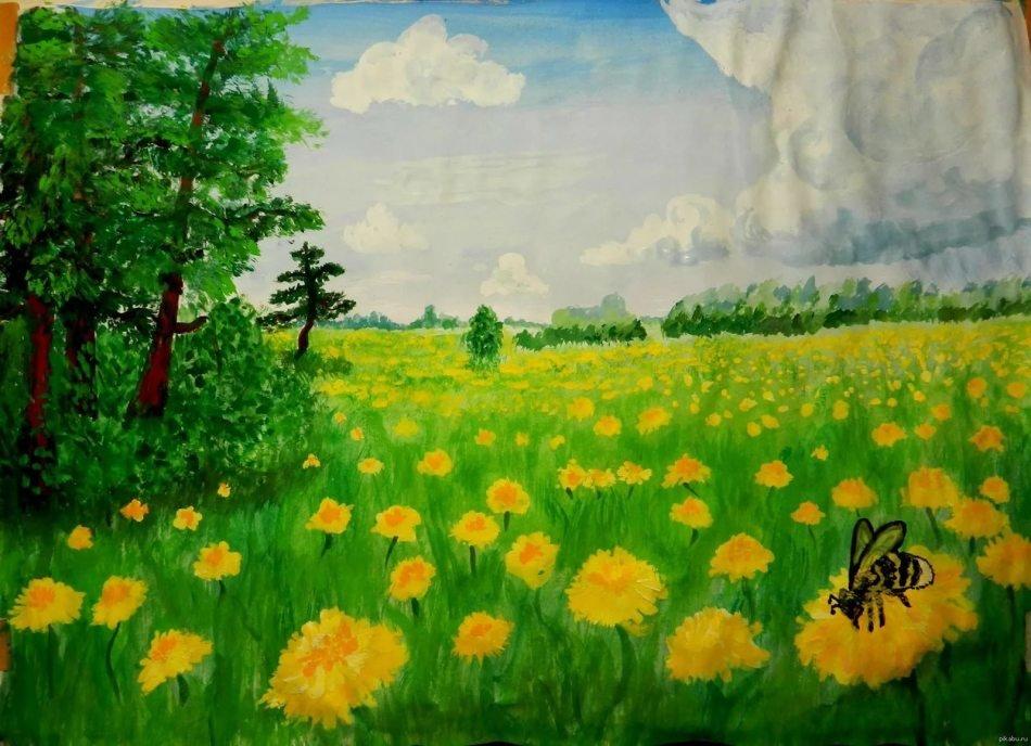 рисунок лесная поляна красками если человек