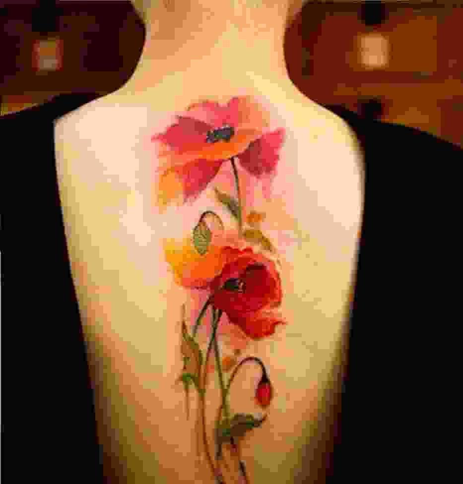 watercolor tattoo flower - 714×747