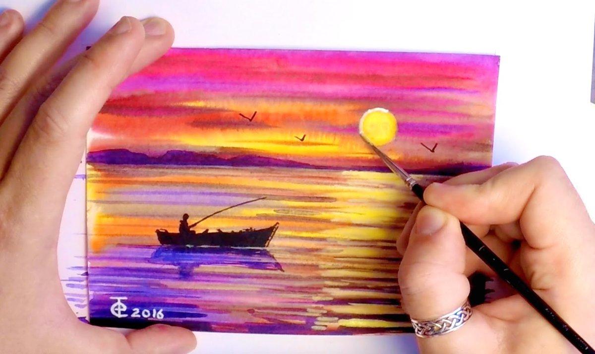 Нарисовать картинку красками за 5 минут, первокласснице поздравление открытки