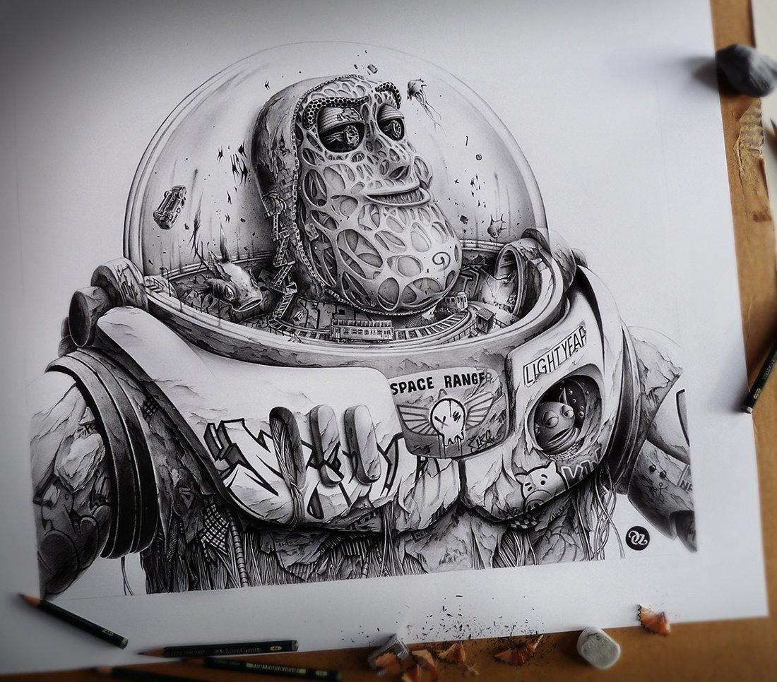 Прикольные необычные рисунки карандашом, собаке