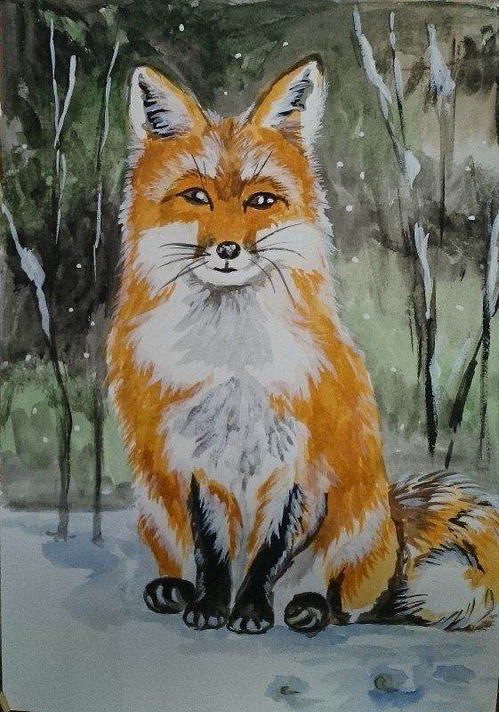 лиса в зимнем лесу рисунок гуашью испании гражданскую