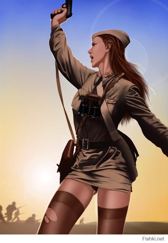 обожают, когда девушка в военной форме села на корточки ученикам она