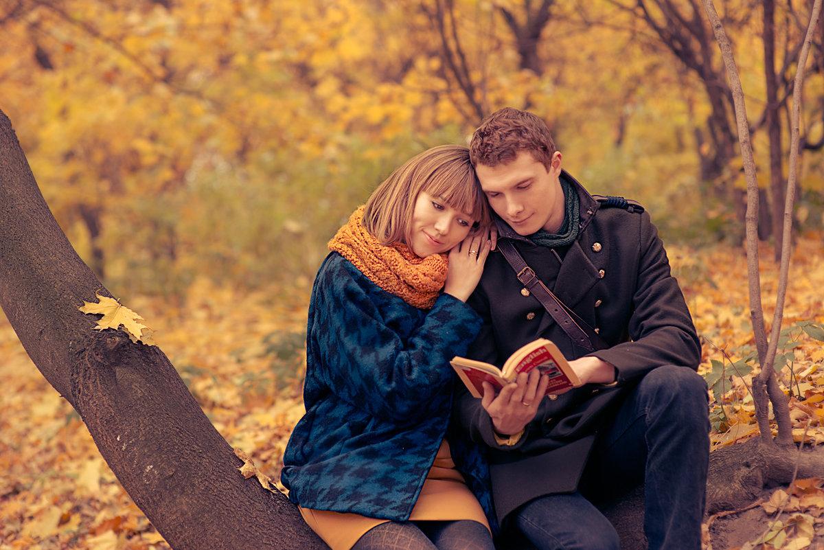 Картинка влюбленные и осень