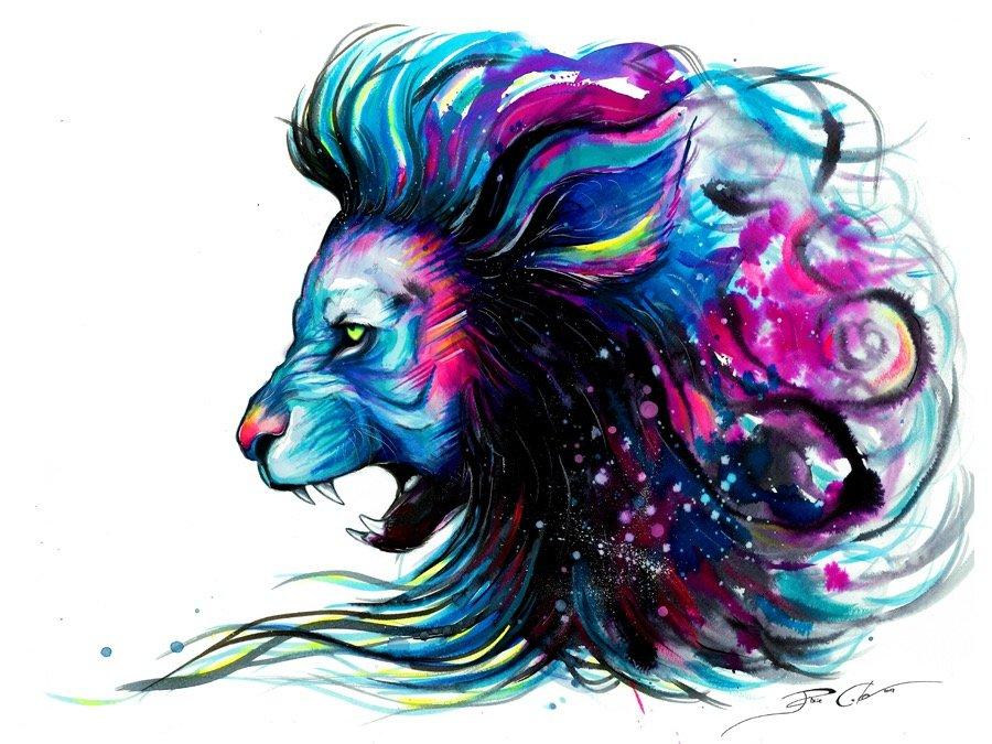 красивые рисунки животных цветные можно видеть фото