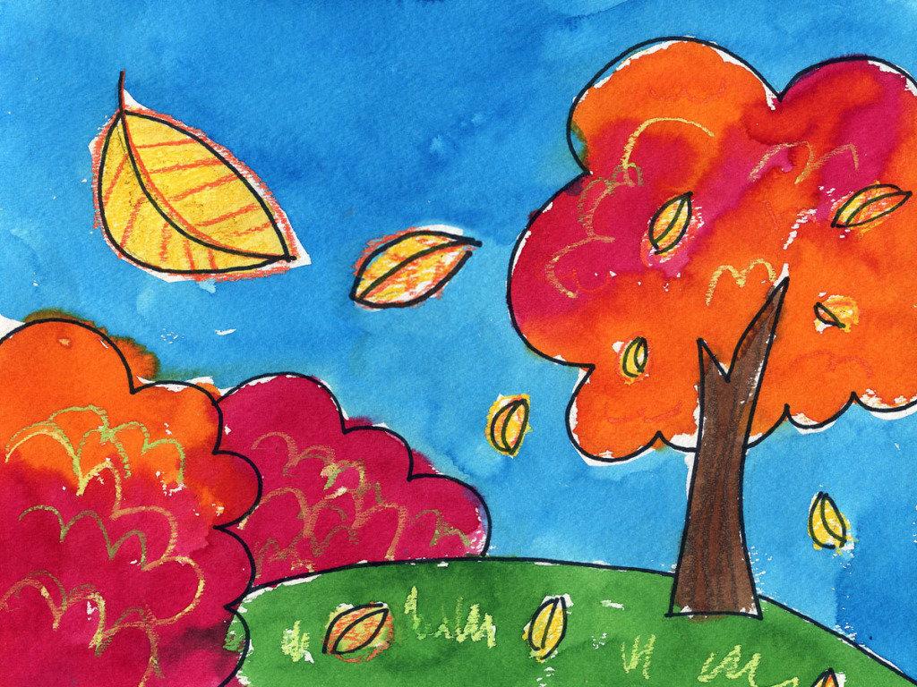 Рисунок с осенью очень легкие