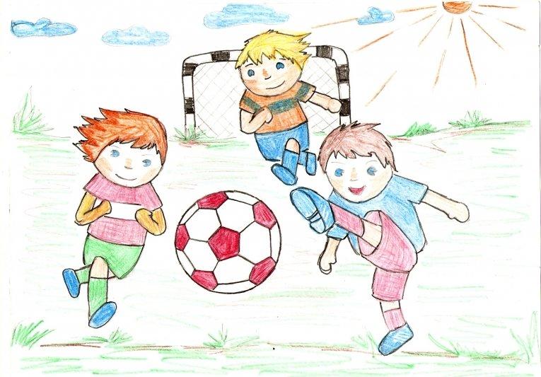 Рисунки моя спортивная семья лето футбол