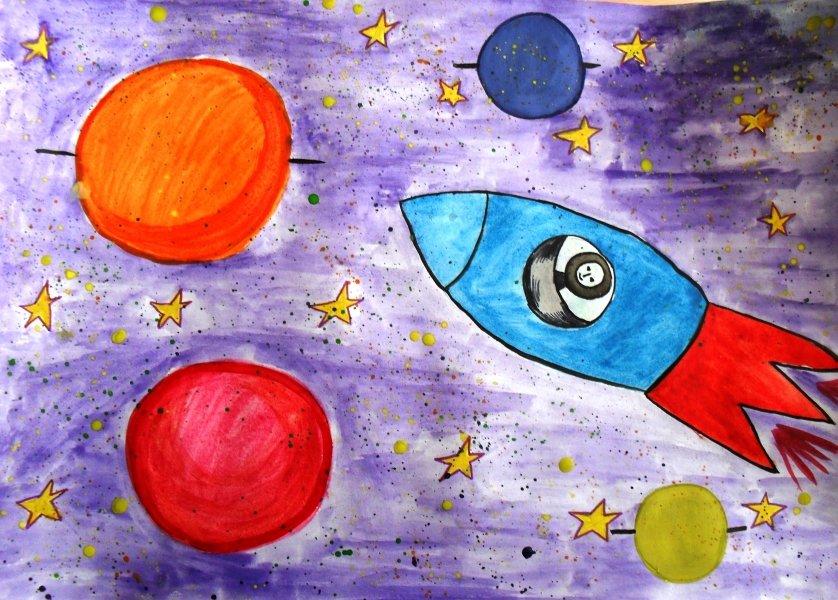 Космос картинки для детей красками