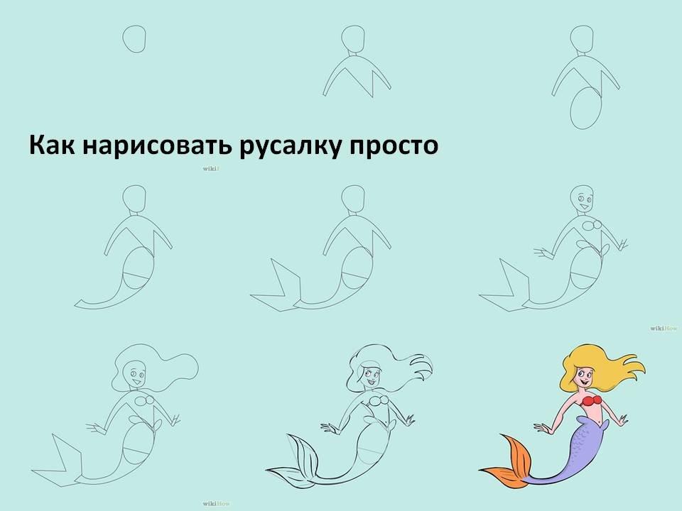 картинки учимся рисовать русалочку оформлены