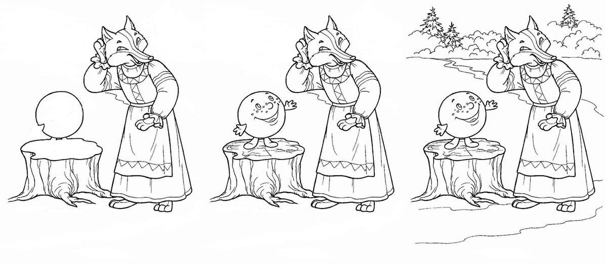 Иллюстрации к сказке колобок поэтапно делать