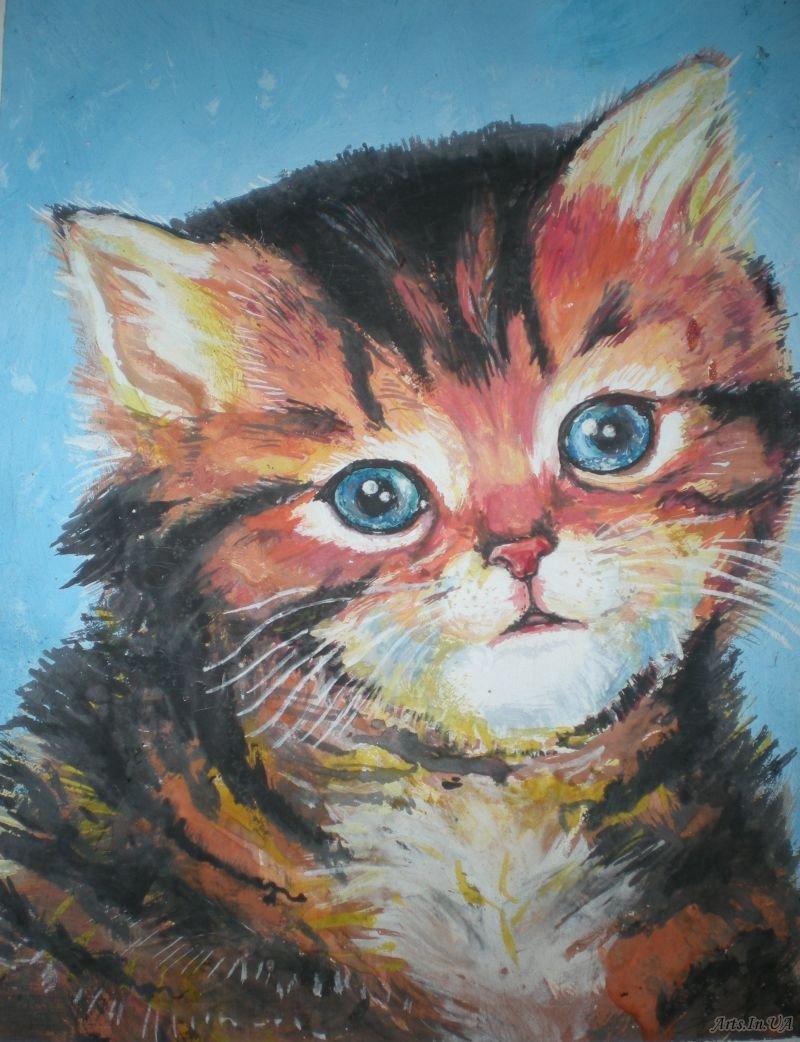 урок рисования акрилом коты розовые розы