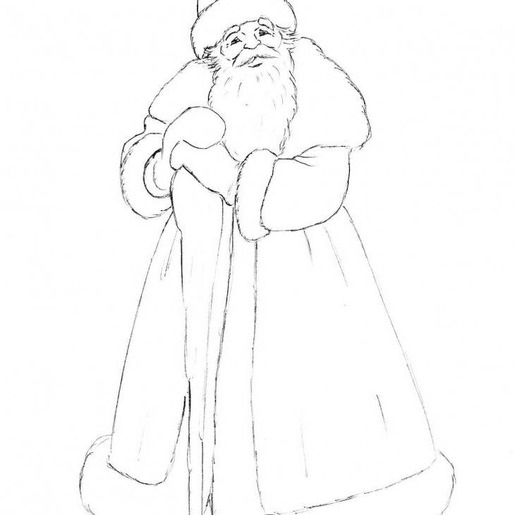 Картинка деда мороза и снегурочки для срисовки